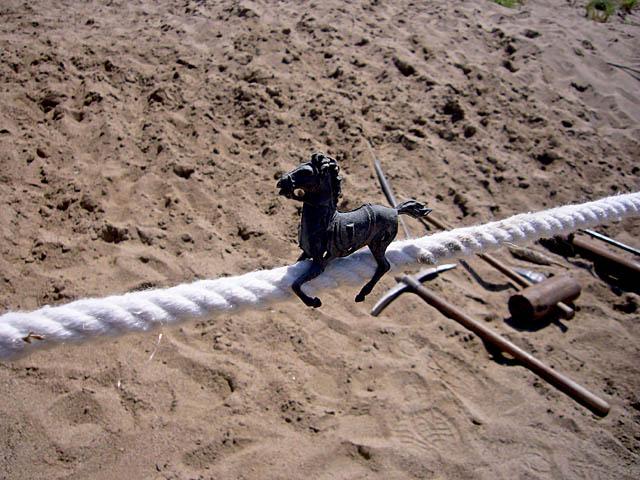 baldiri : cavall negre sobre corda blanca amb eines al terra : baldiri08050601.jpg