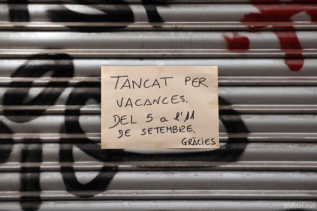 baldiri : tancat per vacances del 5 a l'11